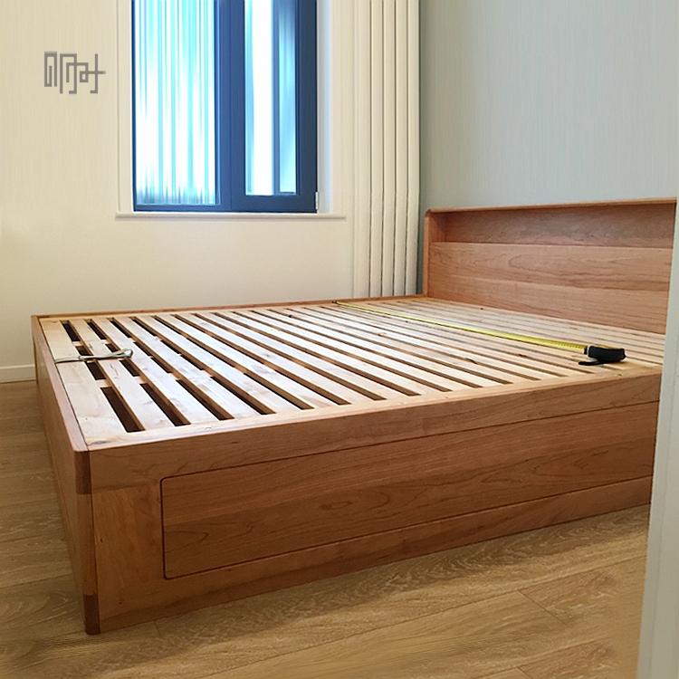 明时新中式北欧简约现代白蜡黑胡桃木禅意实木榫卯结构双人箱体床