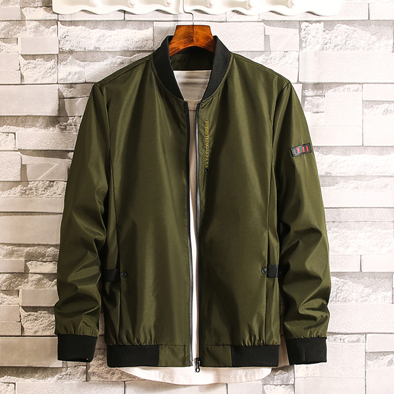 Spring fat coat mens loose stand collar Baseball Jacket youth plus plus size fat extra large jacket