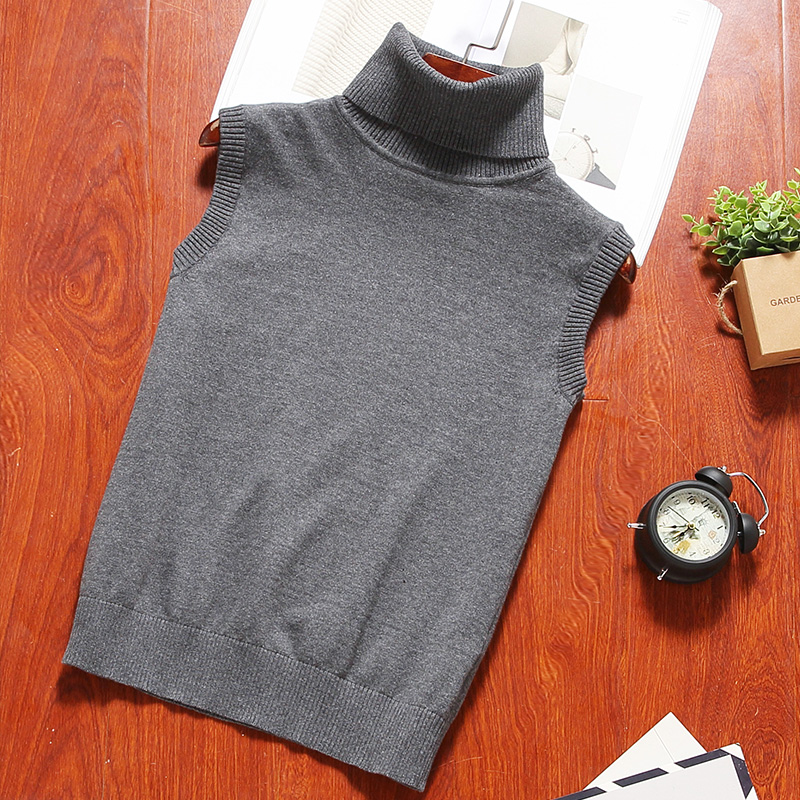Spring vest mens sleeveless sweater elastic pure color cotton warm sweater vest high collar jacket trend