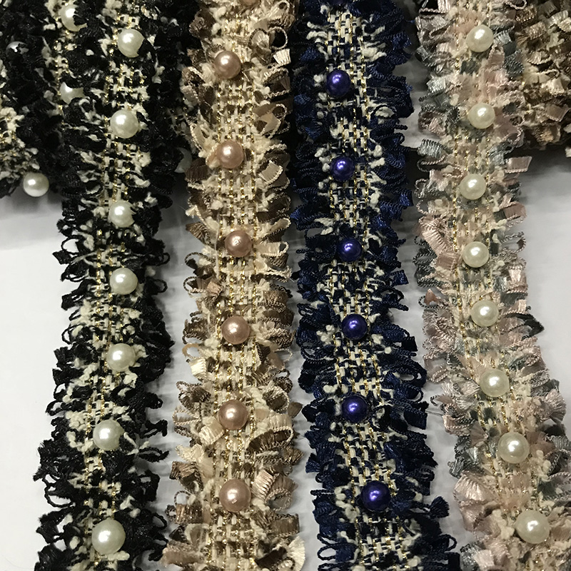 Handmade beading DIY Korean ribbon small fragrant pearl braid with accessories high quality beaded lace