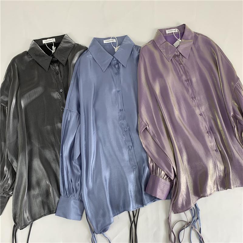 限9000张券人鱼姬偏光blingbling绑带衬衫女韩版垂顺系带宽松显瘦长袖衬衣