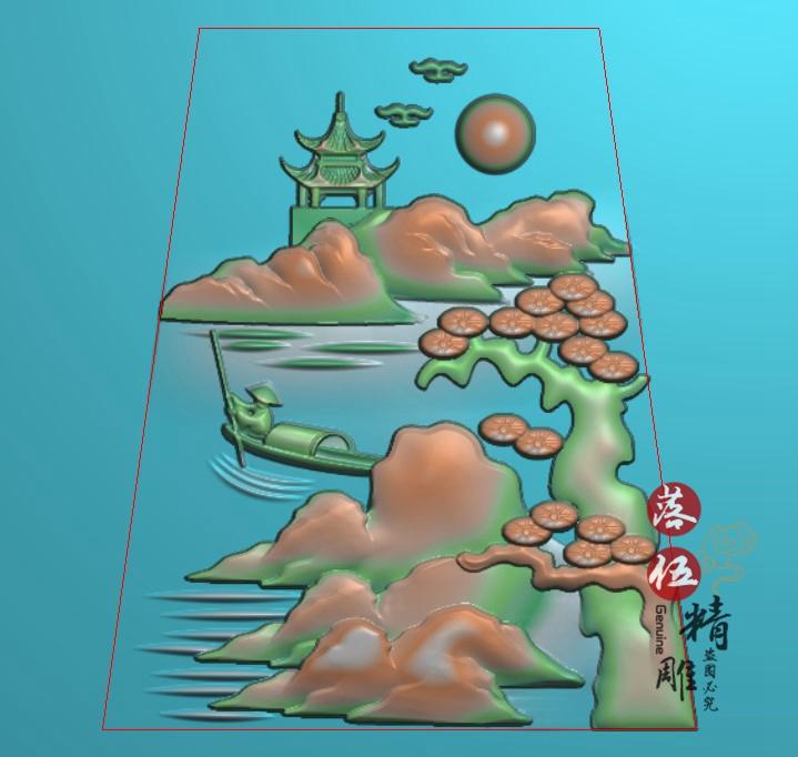 山水渔翁划船人物1713玉雕山水人物挂件电脑机雕图小船精雕图凹底 Изображение 1