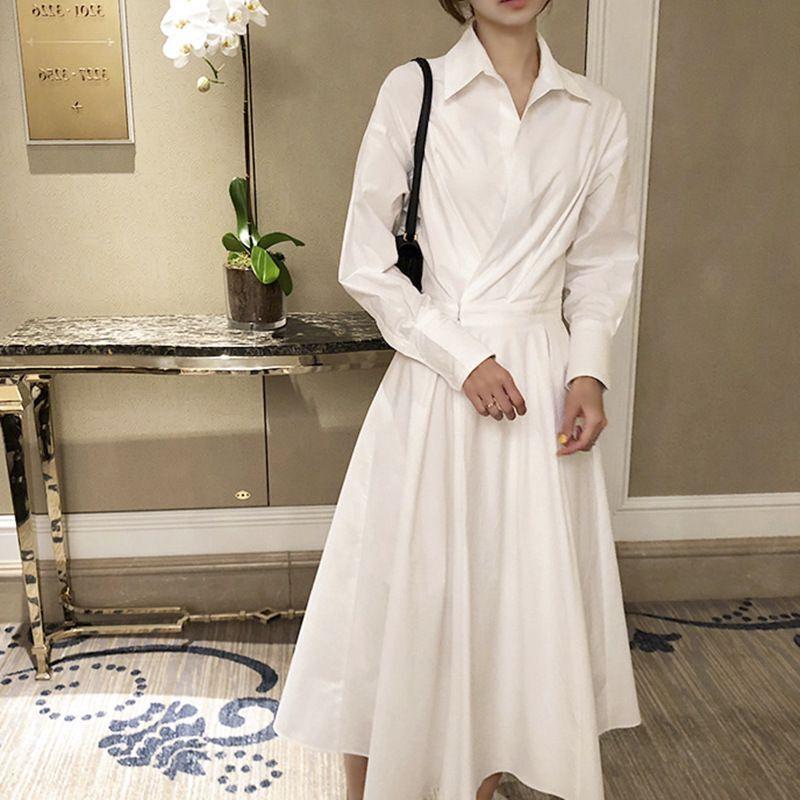 Me independent design solid color dress long shirt skirt Korean loose 2020 NEW