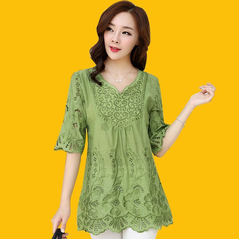2020 spring and summer Ethnic Style Embroidered Shirt womens large loose linen V-neck medium length cotton hemp top