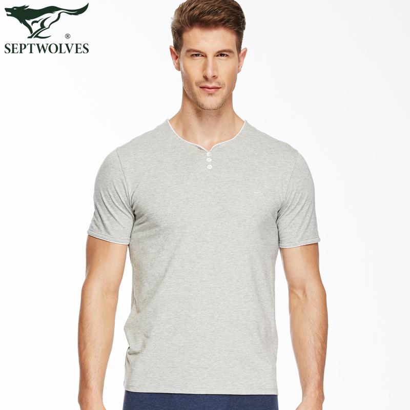 55.00元包邮七匹狼莫代尔棉T恤衫男士夏季清凉冰丝吸汗透气圆领短袖打底汗衫