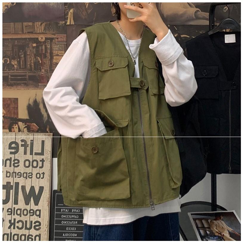Japanese Industrial vest vest vest mens fashion brand wear functional jacket Hong Kong Style hip hop spring and autumn coat Korean version trend