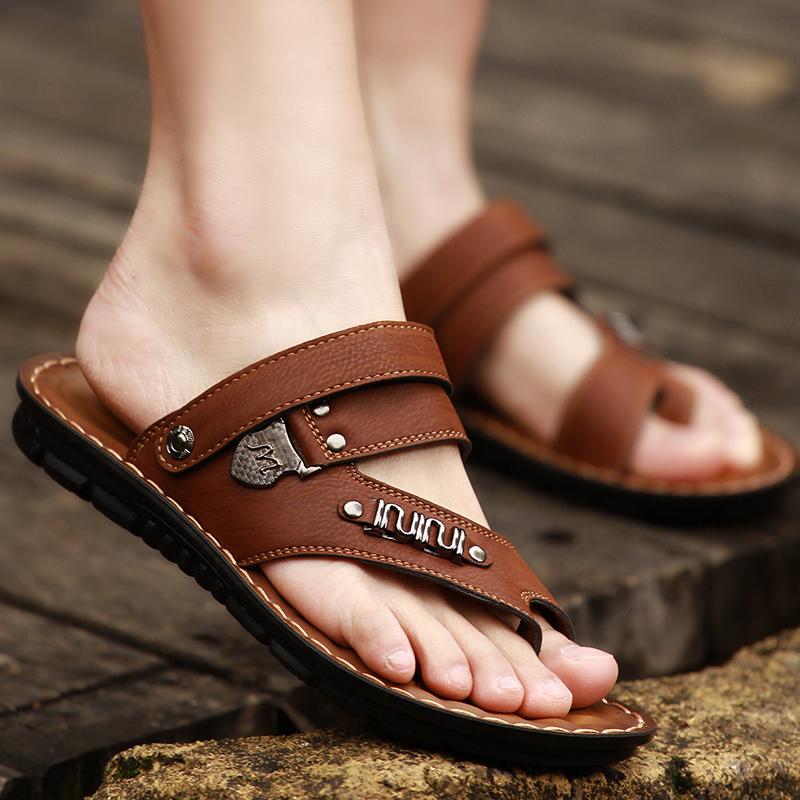 男士凉鞋中年老爸鞋开车拖鞋男夏季外穿人字拖男沙滩鞋夹趾男凉鞋