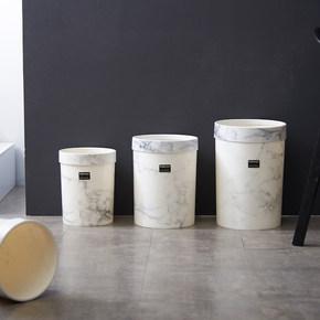 北欧仿大理石纹无盖垃圾桶家用客厅卧室简约创意时尚欧式个性ins