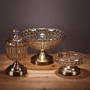 果盘烟灰缸糖果罐样板房餐桌摆件欧式 新中式 装 饰摆设水晶果盘茶几