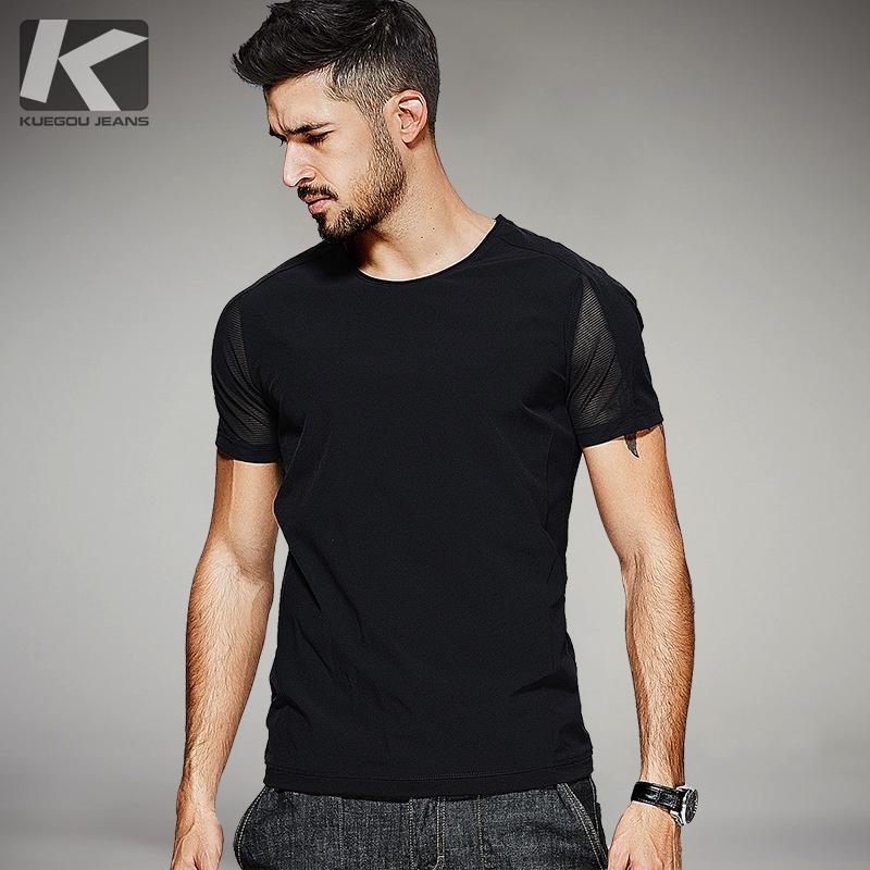 [包邮]Kuegou 夏季新款男士短袖T恤 男个性拼接修身圆领上衣0321