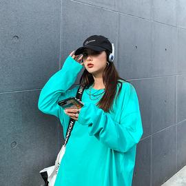 长袖t恤女宽松韩版新款2020秋冬季大版纯色卫衣上衣女打底衫ins潮