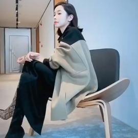 双面羊绒大衣小个子宽松斗篷蝙蝠袖阔版撞色羊毛呢子外套秋冬新款
