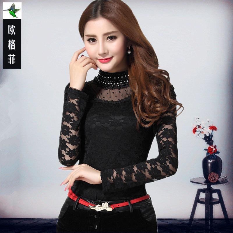 木子家 泡泡袖韩版蕾丝打底衫钉珠镶钻中高领长袖上衣女装