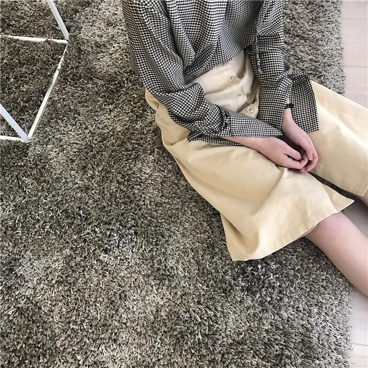Aiko studio. Korean versatile light Khaki retro single breasted A-line elastic waist skirt