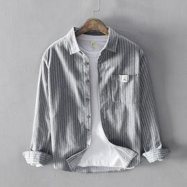 日系韩版潮流男士条纹休闲衬衫全棉时尚百搭衬衣纯色帅气上衣外套
