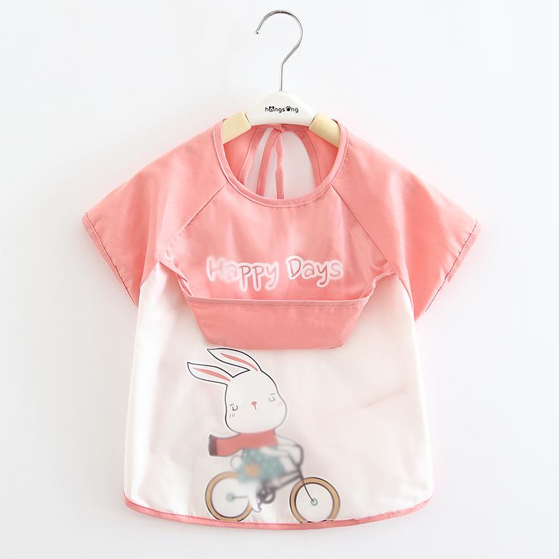 宝宝罩衣夏天薄款纯棉围兜儿童吃饭防水短袖饭兜婴儿男女童反穿衣图片