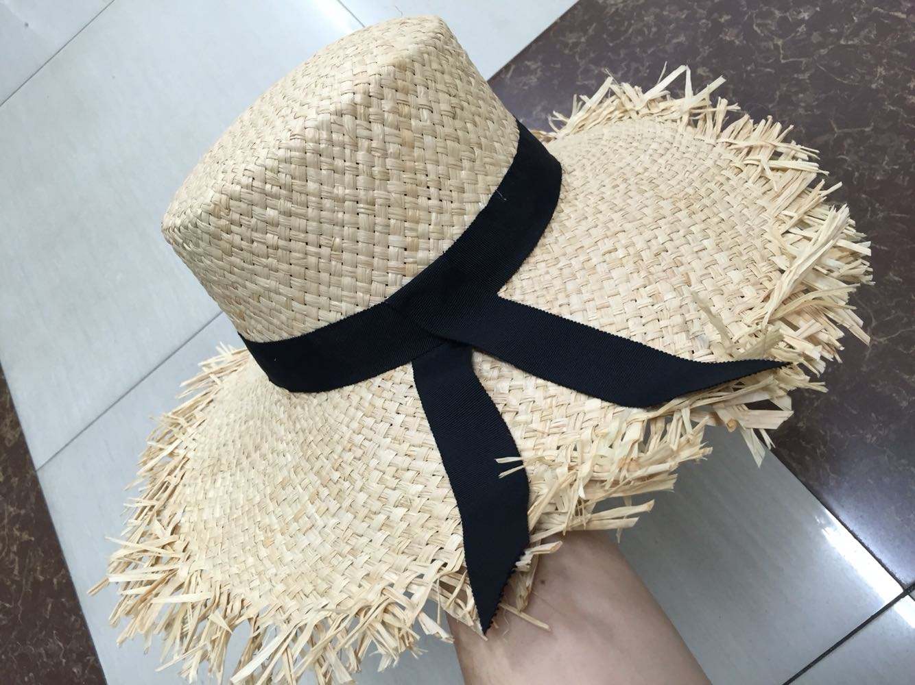 Lafite flat top Beach Hat with large eaves 57cm adjustable head circumference