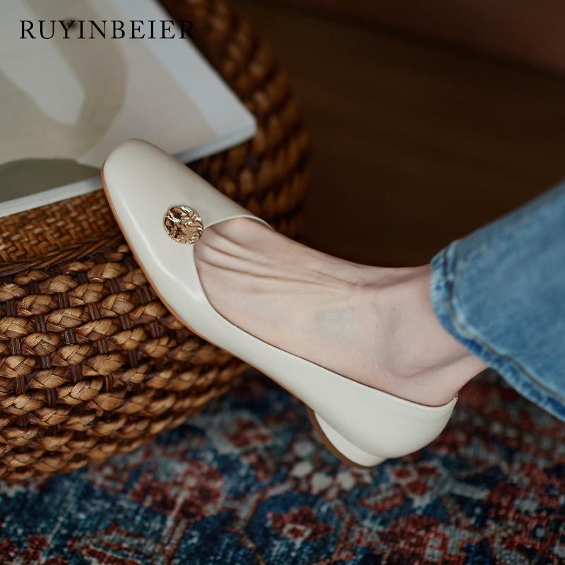 茹尹贝儿2021年新款女鞋复古浅口小方头低跟百搭平底鞋真皮单鞋女