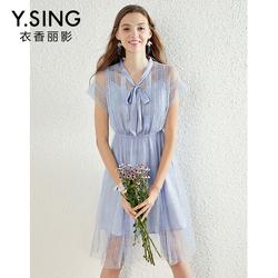 衣香丽影2019夏装新款韩版系带修身V领短袖蕾丝拼接网纱连衣裙女