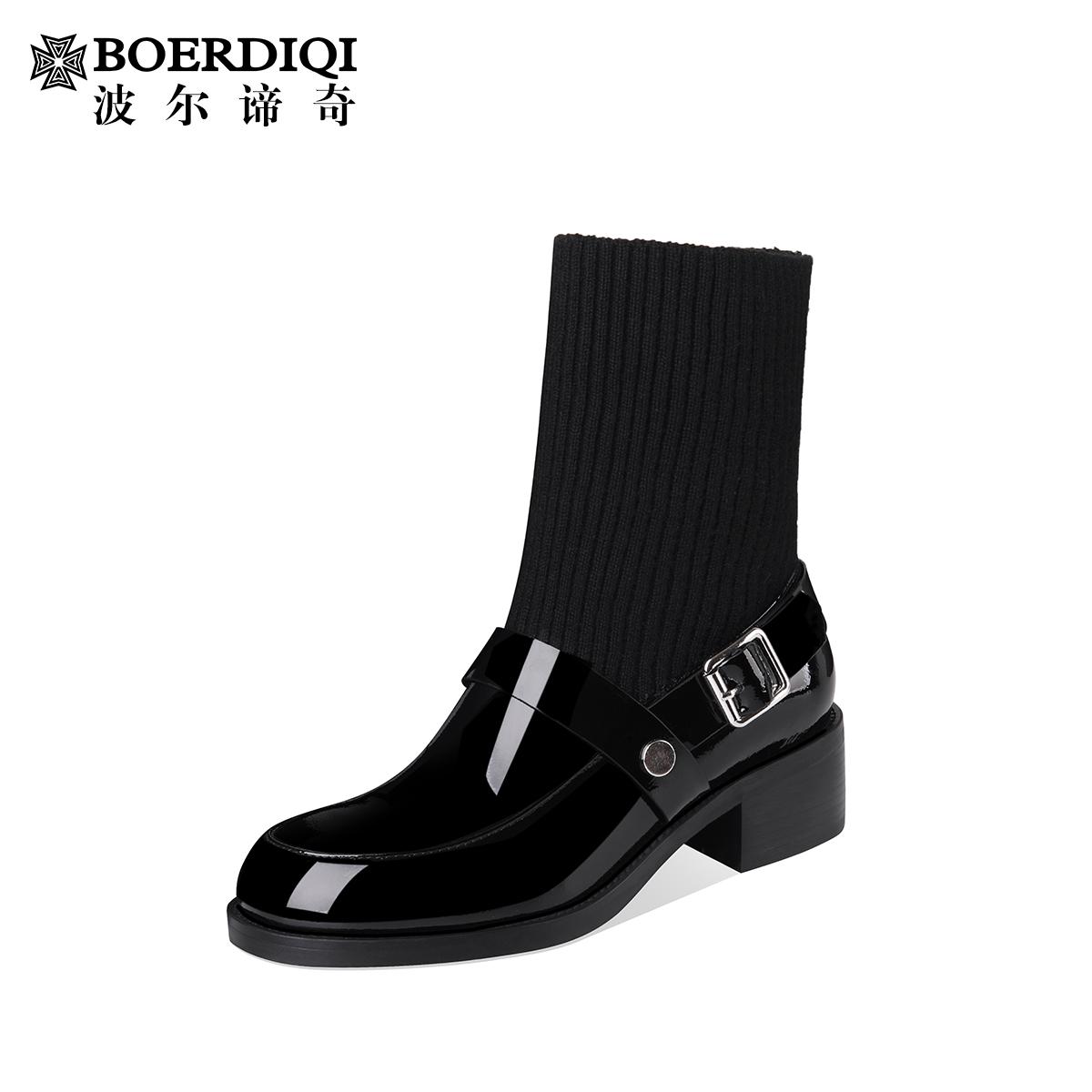 波尔谛奇2019秋季新款女鞋牛漆皮真皮时尚洋气短靴85433