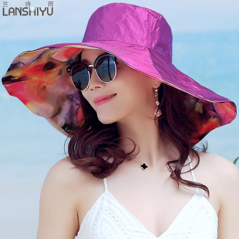 太阳帽子女夏天大沿遮阳帽凉帽防晒太阳帽防紫外线海边度假沙滩帽