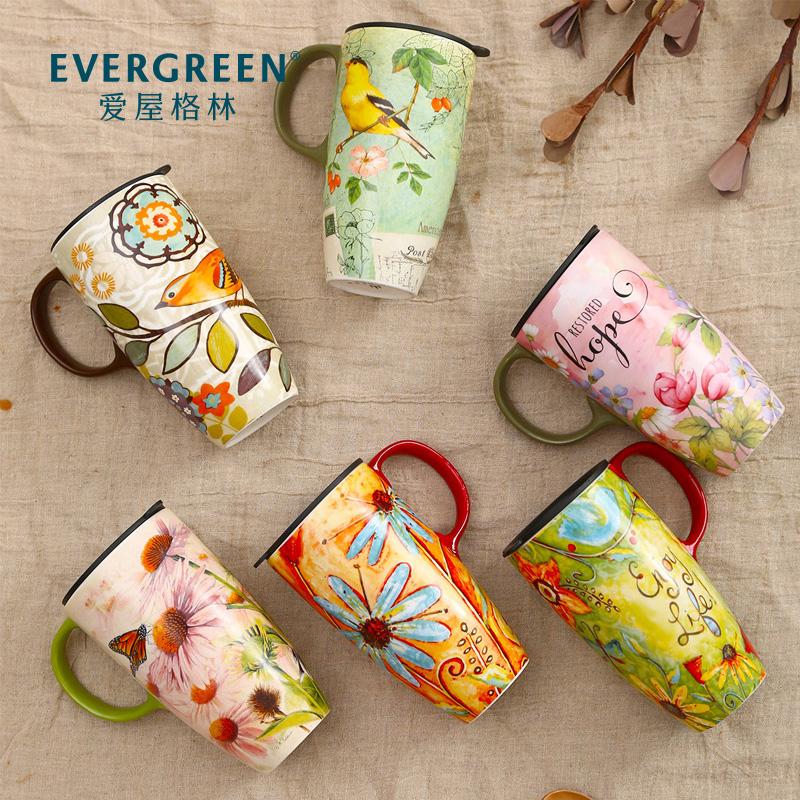 爱屋格林大容量马克杯子陶瓷带盖咖啡创意早餐杯家用水杯定制情侣图片
