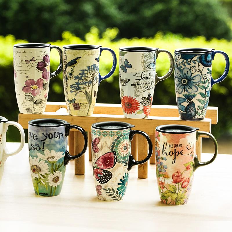 愛屋格林  家居水杯帶蓋大容量水杯子陶瓷杯馬克杯