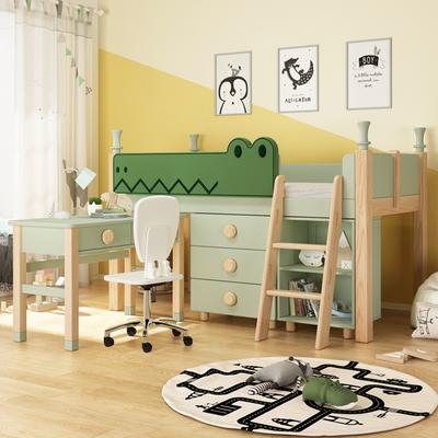 酷漫居儿童床男孩实木中高床带储物半高床树屋软包书桌一体多功能