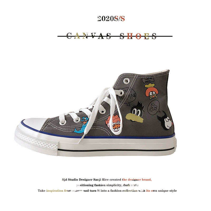 Summer new mens shoes graffiti cartoon printing design mens and womens vulcanized shoes trend all kinds of lovers high top canvas shoes