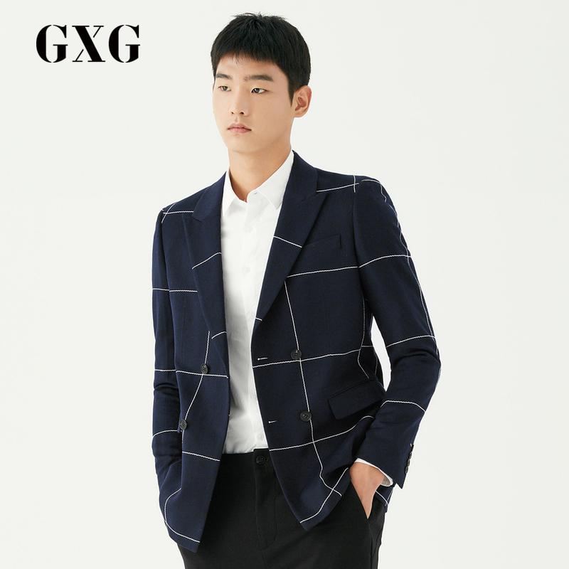 GXG男装 2017冬季商场同款蓝白格单西#174101004