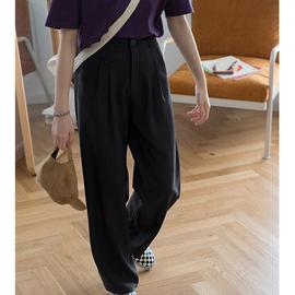 奶兔星球-自制 薄款西装长裤宽松拖地裤女垂感高腰直筒裤夏季裤子