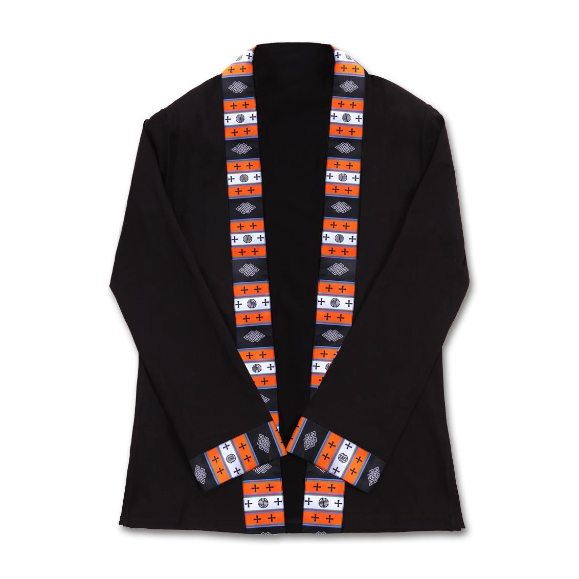 彩螺服饰藏族服装男藏式原创纯棉电脑织绣藏式图案吉祥氆氇开衫
