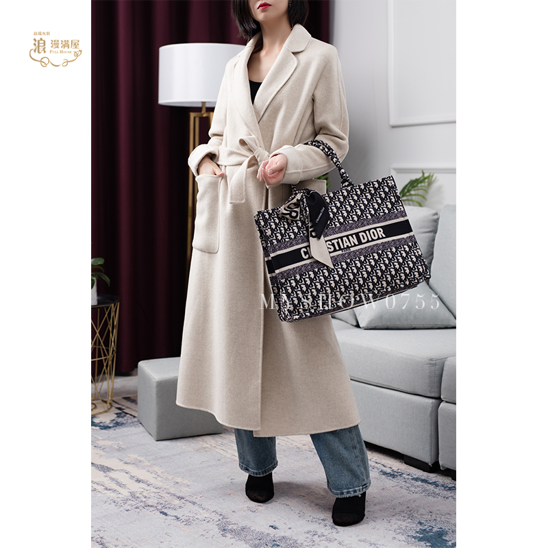2020 new coat wool and cashmere blended lace up button less cardigan, loose, simple and fluent four colors