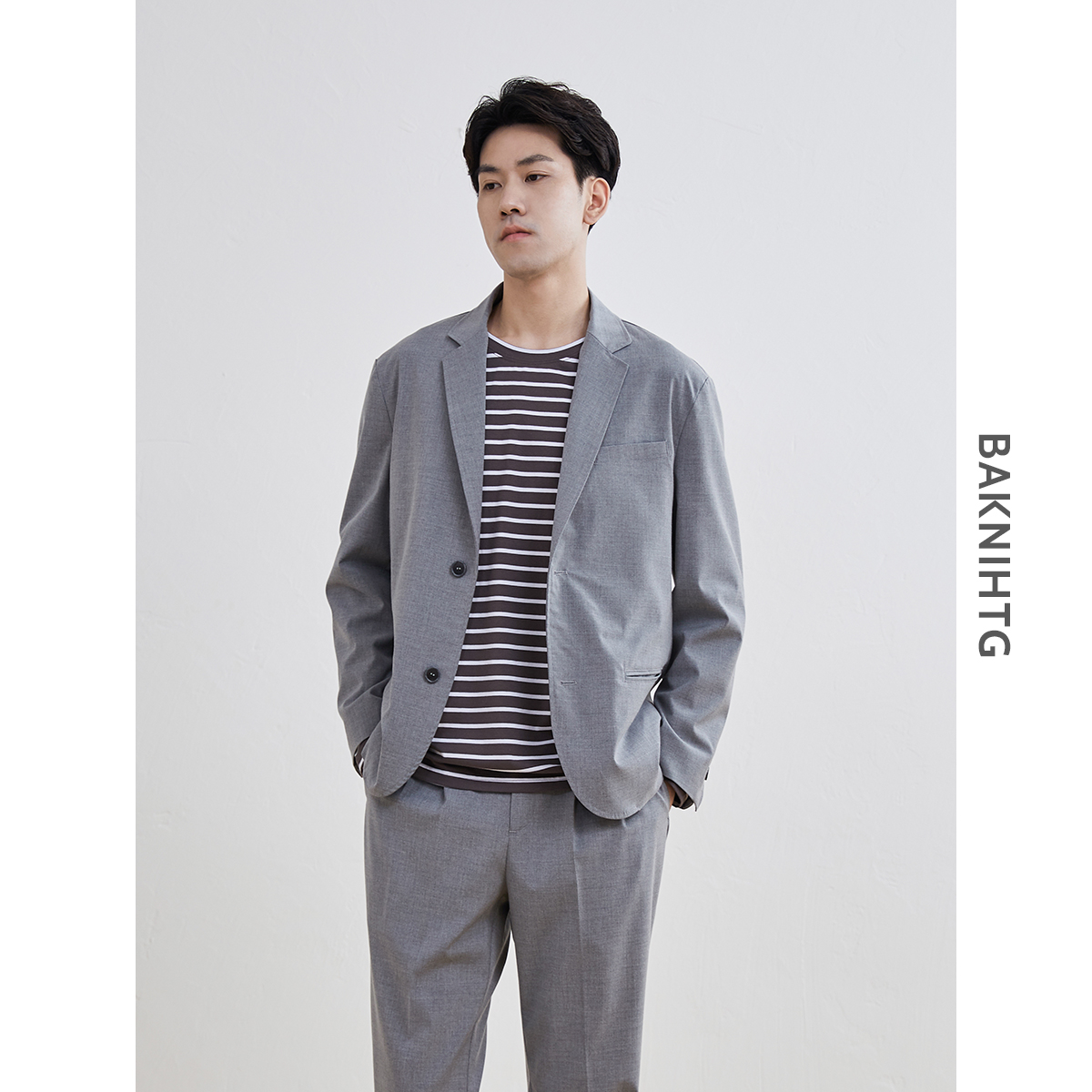 [non refundable after closing store] mens suit double breasted suit casual suit top single loose coat