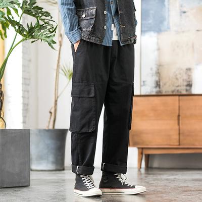 2019内景日系工装多口袋男宽松休闲男裤 黑色 A875-P50(控价78)