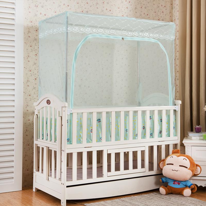 婴儿床蚊帐罩子带支架防蚊bb儿童定做婴童宝宝小孩开门拉链蚊帐贝