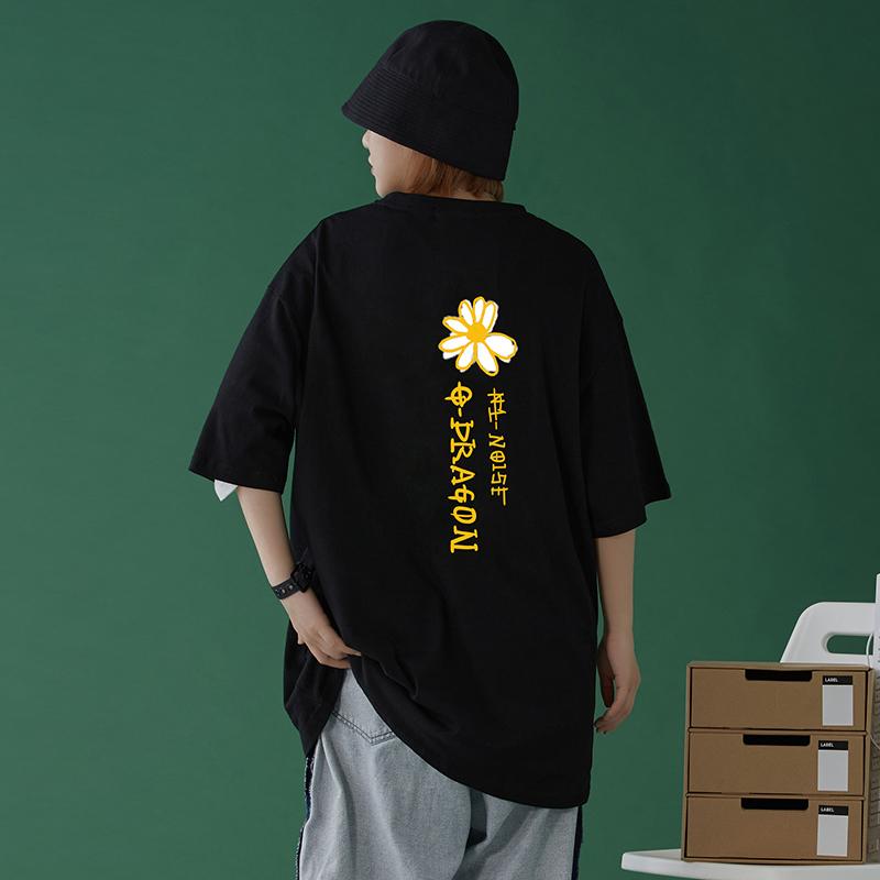中性风 夏季潮流雏菊印花宽松短袖T恤男女生衣服 T911 P25