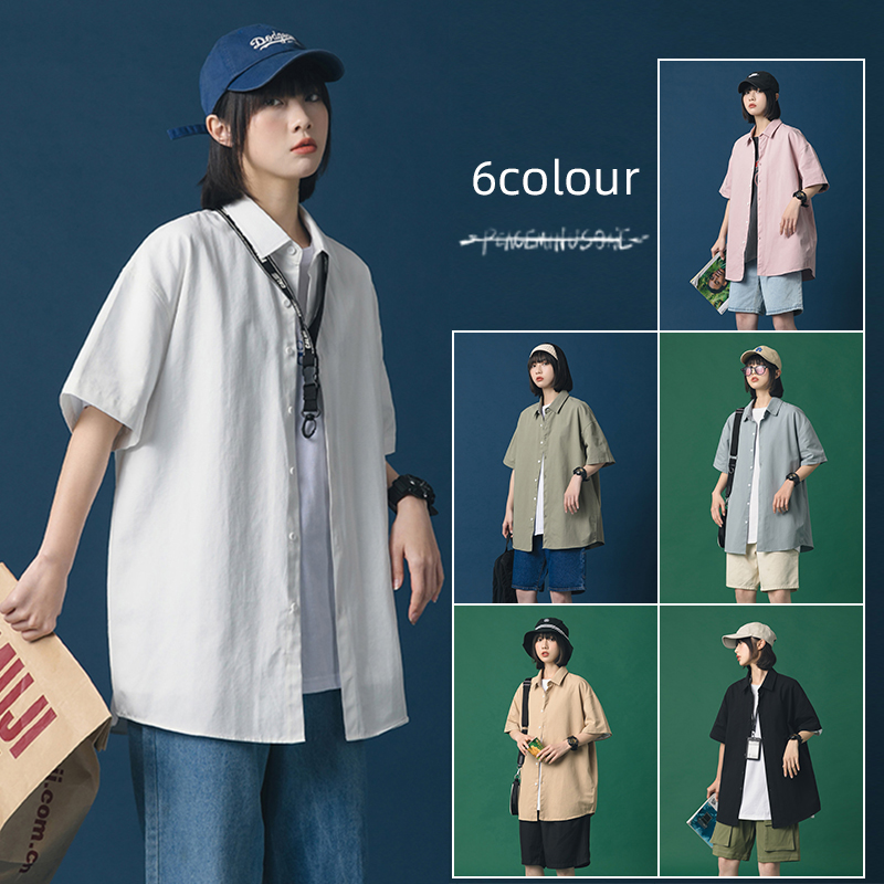 Neutral wind summer loose solid color daisy print short sleeve shirt womens trend shirt S21 p35 control 48