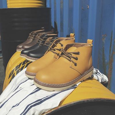 秋冬季马丁靴男士复古休闲鞋靴子高帮皮靴子BX33P55不低于78