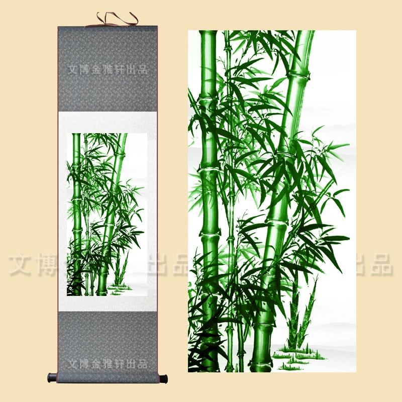 玄关竖版装饰客厅竹报平安 丝绸挂画过道字画竹子现代装饰画走廊