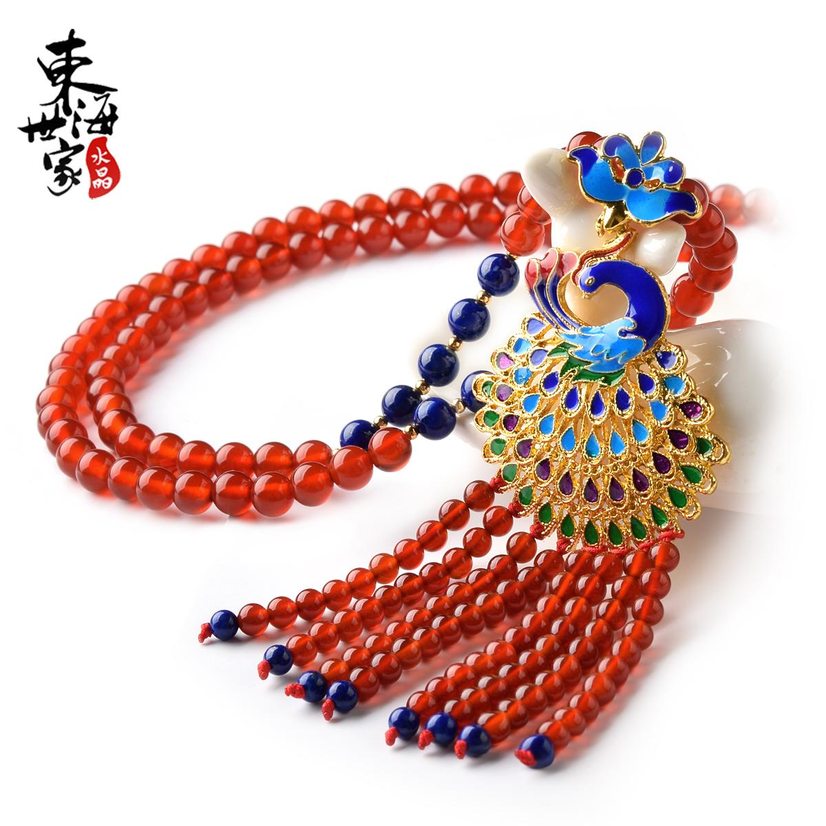 东海世家石榴石毛衣链项链女 红玛瑙毛衣链吊坠水晶时尚饰品礼物