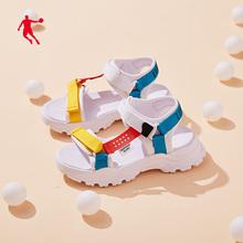 乔丹女鞋2021夏季新款厚底休闲凉鞋仙女百搭运动凉拖鞋户外沙滩鞋