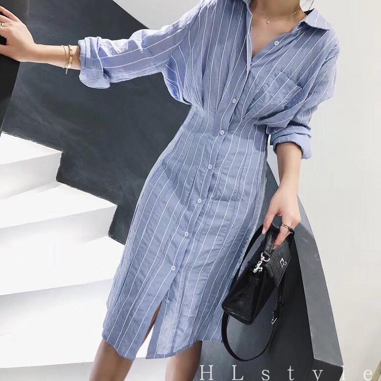 衬衫控必入 2018夏新款气质收腰条纹中长款衬衫连衣裙女装