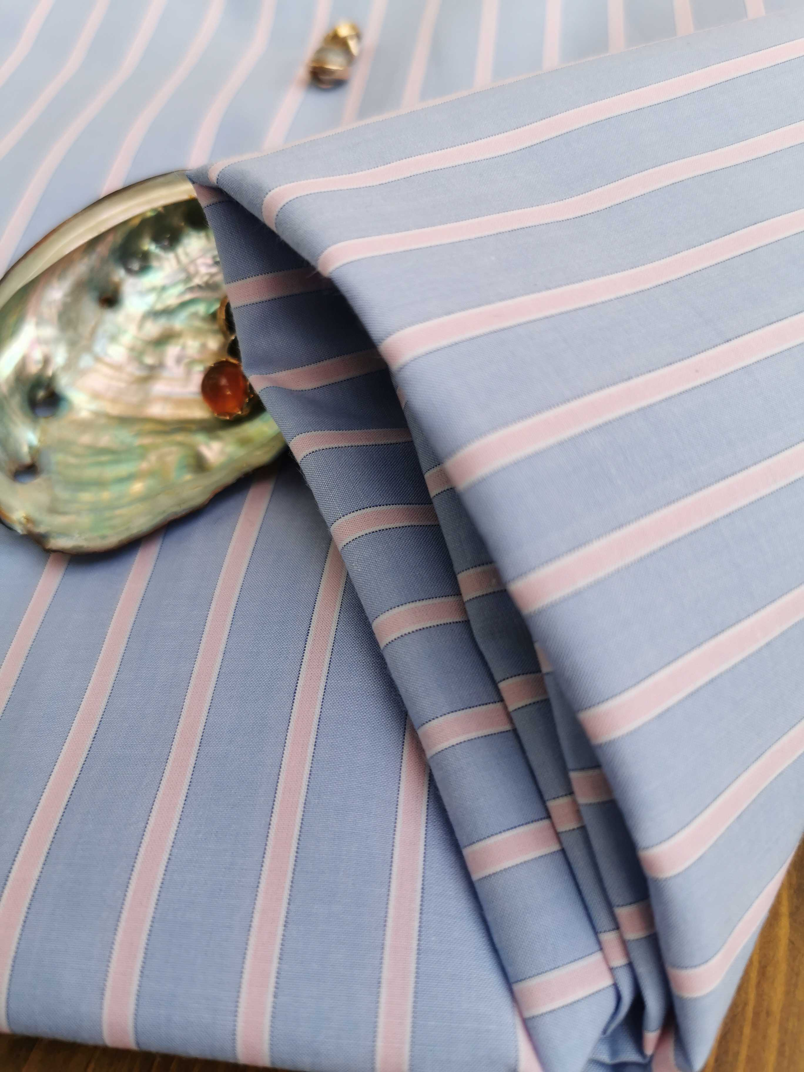 Spring, summer and autumn blue all cotton yarn dyed striped shirt dress fabric combed high count cotton clothing fabric is small and fresh