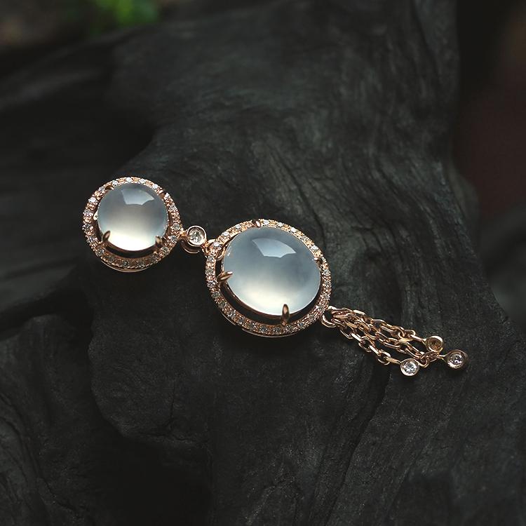 白冰种天然翡翠蛋面吊坠A货缅甸玉石挂件K金钻石珠宝首饰证书0216