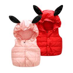七婴儿童小童加绒羽绒棉马甲秋冬装外套装背心女童宝宝婴幼儿冬季