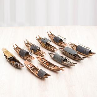 饰品迷你小船模型手工木制小船模型船模渔船绍兴乌篷船礼物 帆船装
