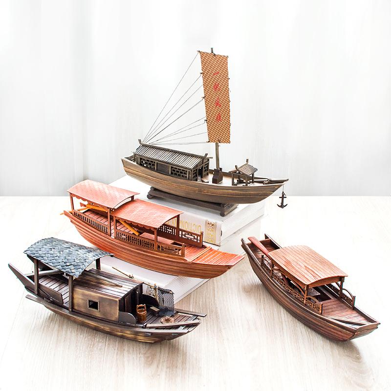 奥雅迪佳帆船小船模型手工木制模型船模渔船绍兴乌篷船礼物