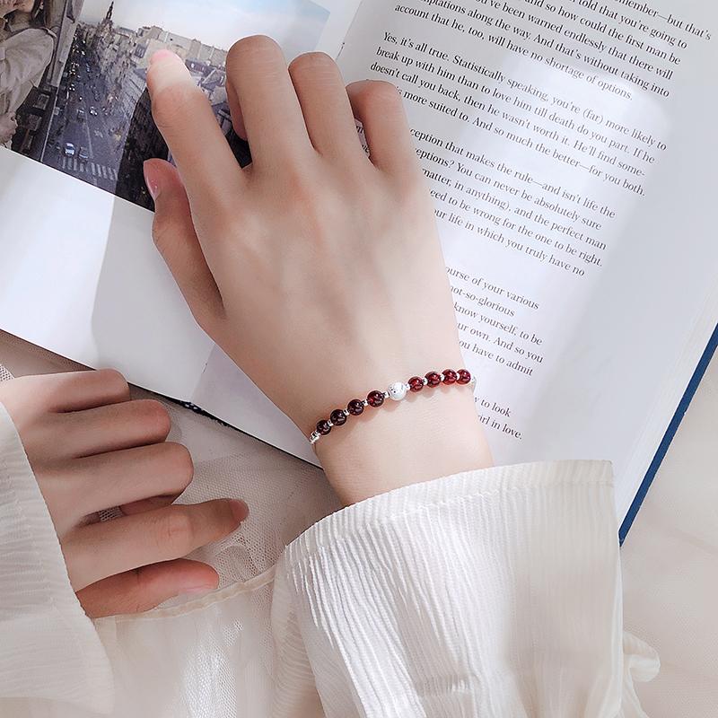 S925银石榴石转运珠手链女韩版简约学生森系闺蜜个性小清新手饰