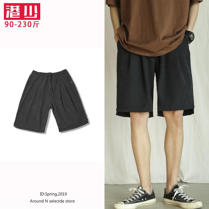 假一赔三男士运动短裤夏季新款胖子休闲纯色五分裤加肥大码宽松潮流沙滩裤